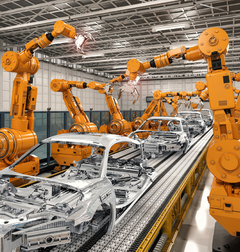 3d rendering cyborg control robot assembly line in automobile manufacturing industry.